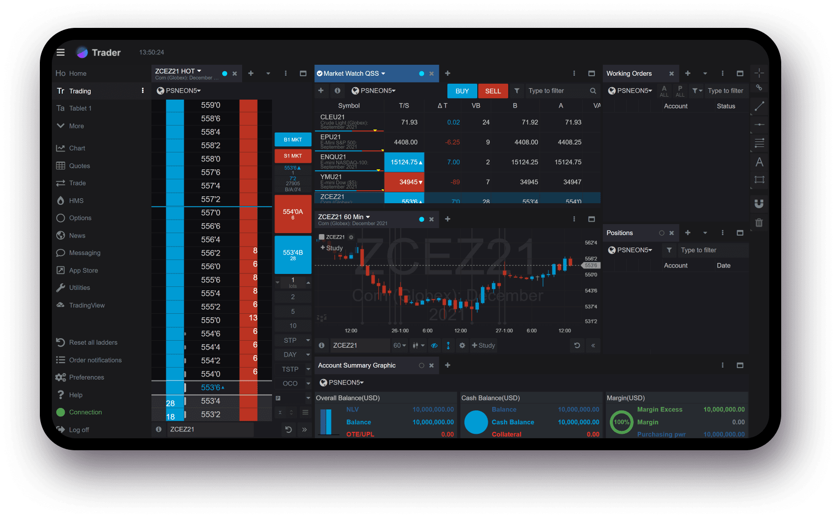 Neon Trader Screen Homepage
